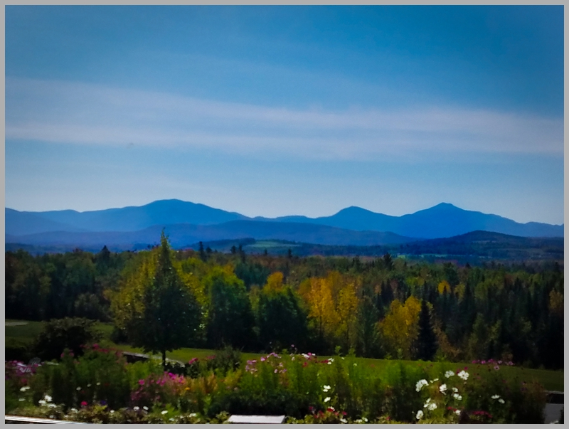 The incredible views while sitting on the sweeping porches of the Mountain View Grand Resort in Whitefield, New Hampshire. Cannot wait to see this in wintertime.