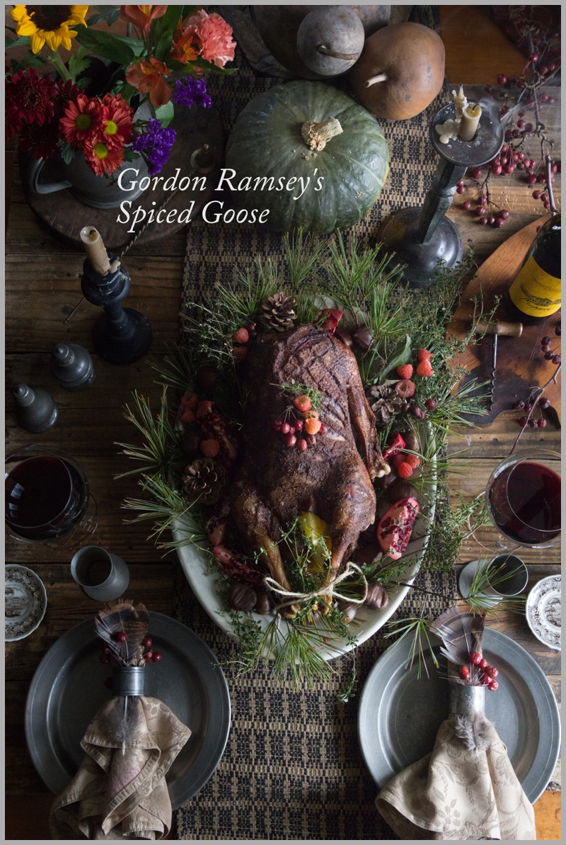 Gordon Ramsey's Spriced Goose stuffed with oranges and lemons and rubbed with 5 spice, lemon and orange rinds. Our favorite recipe for holiday goose.