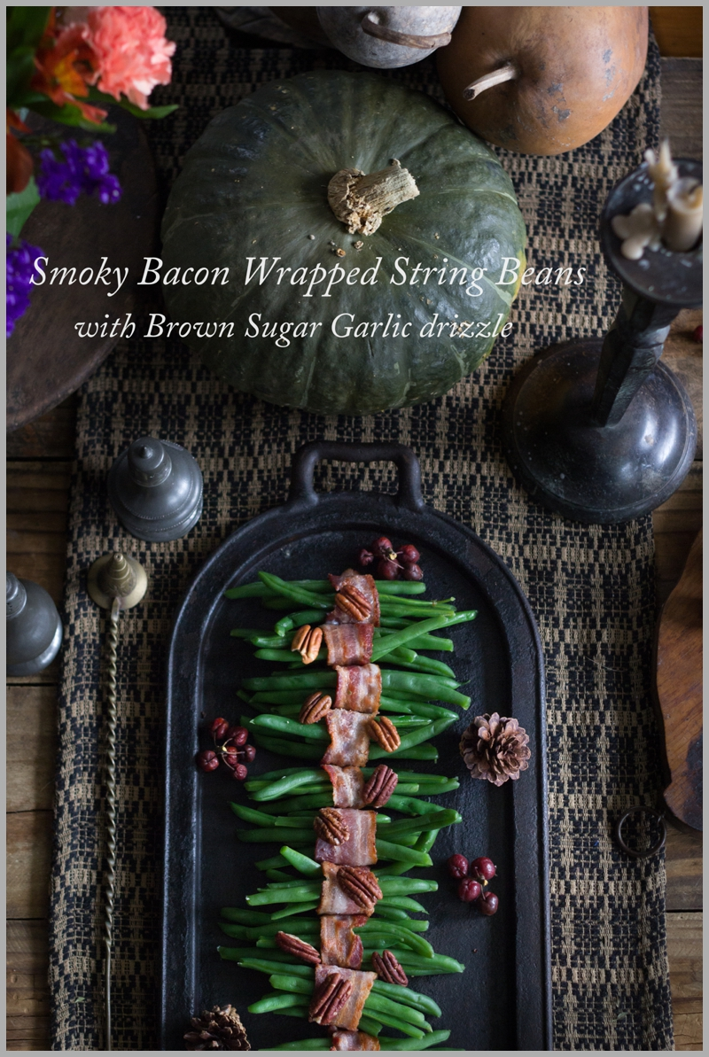 Smoky Bacon Wrapped String Beans with a Garlic Brown Sugar Drizzle and Roasted Pecans