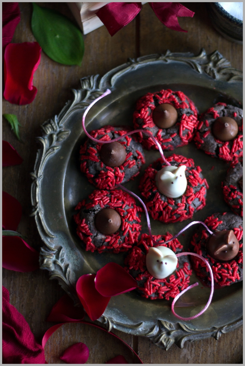 L.A. Burdick's little chocolate mice truffles to top off my Chocolate Thumbprint Cookies