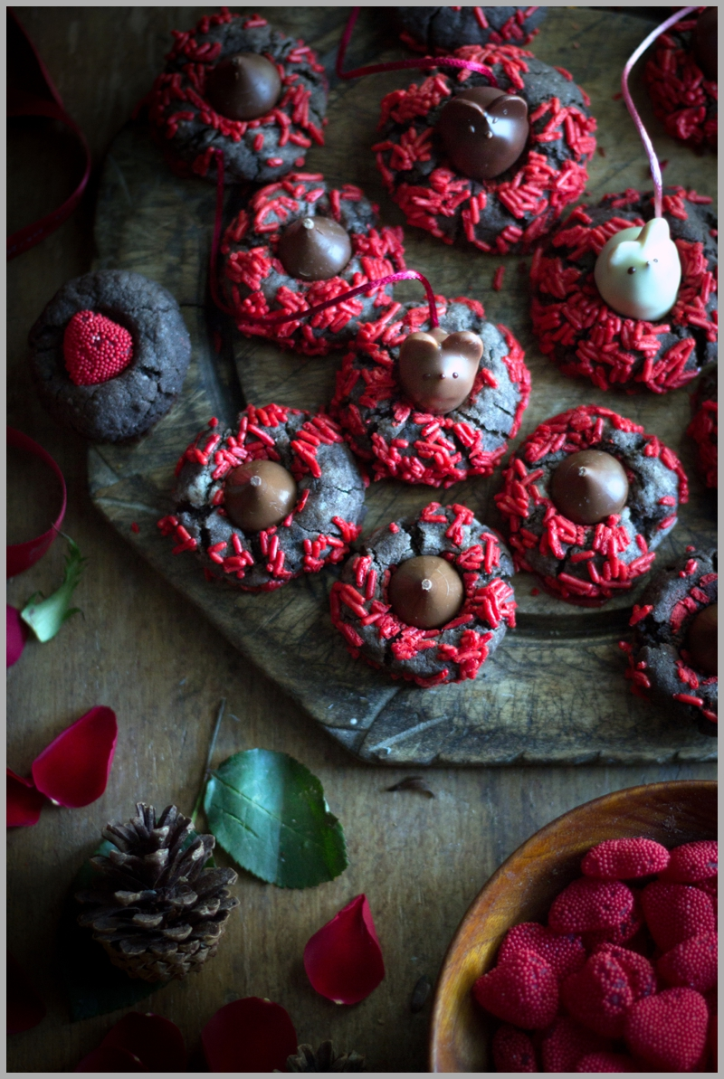 Chocolaty Chocolate Thumbprint cookies with L.A. Burdick's Chocolate Mice truffles